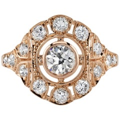 0.54 Carat GIA Certified Old European Cut Diamond Engagement Ring