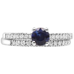 Round Blue Sapphire Engagement with Diamond Wedding Band