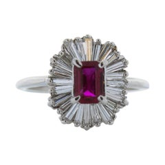 0.54 Carat Ruby Emerald & Diamond Ring in 14k White Gold