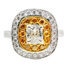 0.54 Cts Old Mine Cut & Fancy Vivid Yellow Diamond Cocktail Ring, 18K White Gold