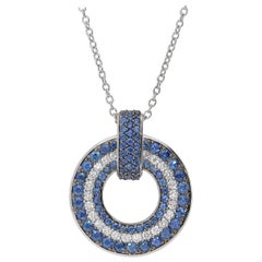 0.54 White GSI Diamonds 1.78 Blue Sapphires 18 Karat White Gold Circle Necklace
