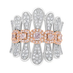 0.54tct Pink Diamond Ring with 0.9tct Diamonds Set in 14K Two Tone Gold