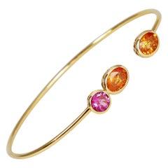0.55 & 2.00 Carat Pink Tourmaline & Orange Sapphire 18k Yellow Gold Open Bangle