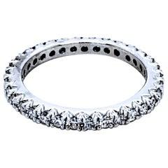 0.55 Carat 18 Karat French Pave Set Diamond Eternity Ring