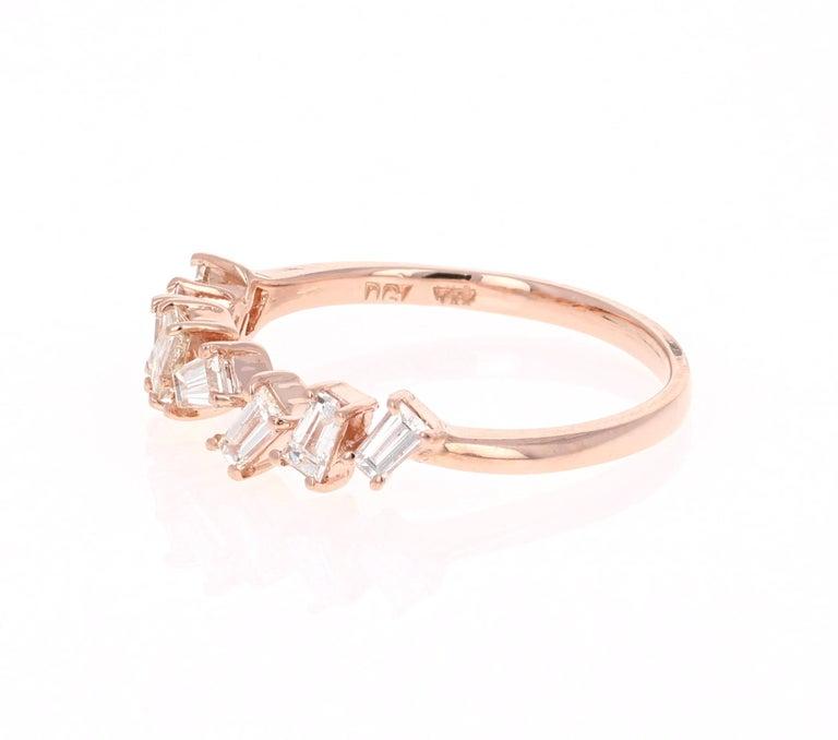 Modern 0.55 Carat Baguette Cut Diamond Band 14 Karat Rose Gold For Sale