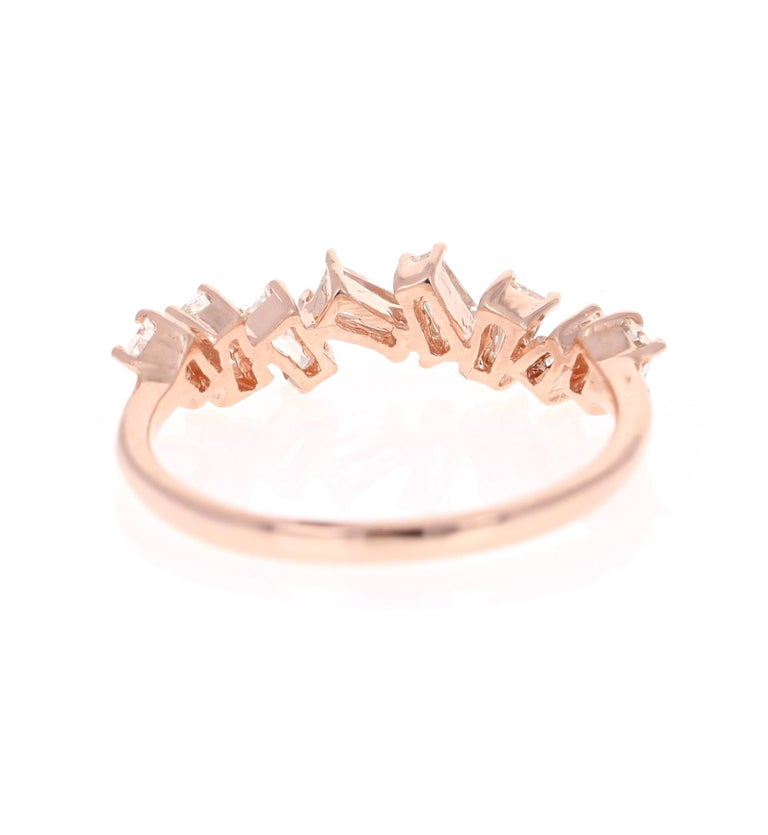 0.55 Carat Baguette Cut Diamond Band 14 Karat Rose Gold In Good Condition For Sale In Los Angeles, CA