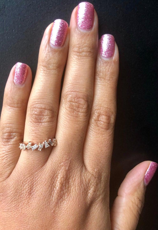 Women's or Men's 0.55 Carat Baguette Cut Diamond Band 14 Karat Rose Gold For Sale
