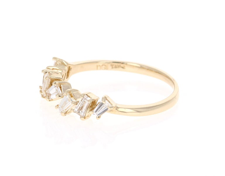 Modern 0.55 Carat Baguette Cut Diamond Band 14 Karat Yellow Gold For Sale