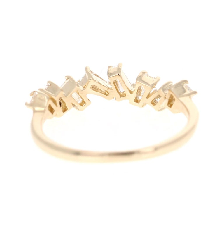 0.55 Carat Baguette Cut Diamond Band 14 Karat Yellow Gold In New Condition For Sale In Los Angeles, CA