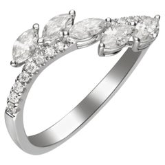 0.55 Carat Diamond 14 Karat White Gold Band Ring
