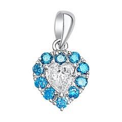 0.55 Carat Heart-Shape White Diamond and Blue Diamond 18 Karat Gold Pendant