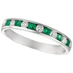 0.55 Carat Natural Diamond and Emerald Ring Band 14 Karat White Gold