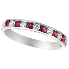 0.55 Carat Natural Diamond and Ruby Ring Band 14 Karat White Gold