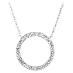 0.55 Carat Natural Diamond Circle Necklace 14 Karat White Gold G SI Chain