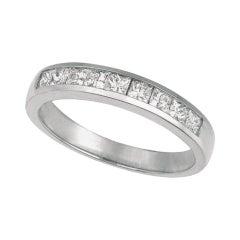 0.55 Carat Natural Princess Cut Diamond Ring Band G SI 14 Karat White Gold