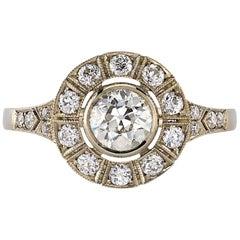 0.55 Carat Old European Cut Diamond Set in an 18 Karat Champagne Gold Ring