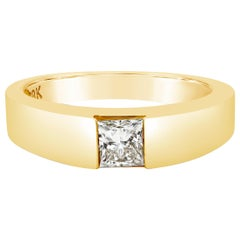 0.55 Carat Princess Cut Diamond Semi-Bezel Solitaire Ring