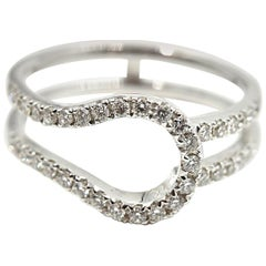 0.55 Carat Round Brilliant Cut Diamond 14 Karat White Gold Ring Guard Band
