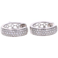 0.55 Carat Round Cut Diamond White Gold Huggy Earrings