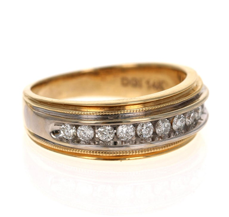 Modern 0.55 Carat Round Cut Men's Wedding Band 14 Karat Yellow Gold For Sale