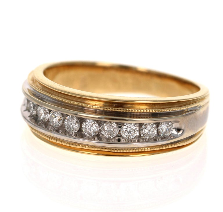 0.55 Carat Round Cut Men's Wedding Band 14 Karat Yellow Gold In New Condition For Sale In Los Angeles, CA