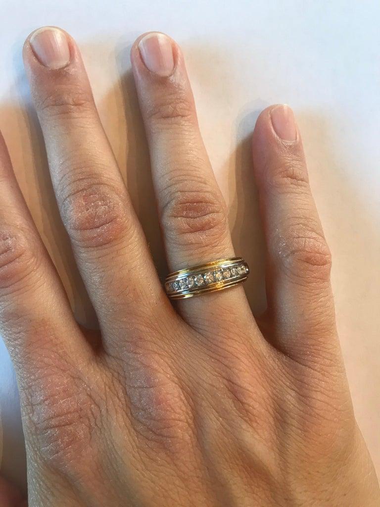 0.55 Carat Round Cut Men's Wedding Band 14 Karat Yellow Gold For Sale 2