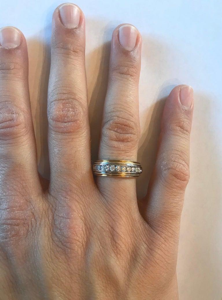 0.55 Carat Round Cut Men's Wedding Band 14 Karat Yellow Gold For Sale 3