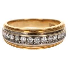 0.55 Carat Round Cut Men's Wedding Band 14 Karat Yellow Gold