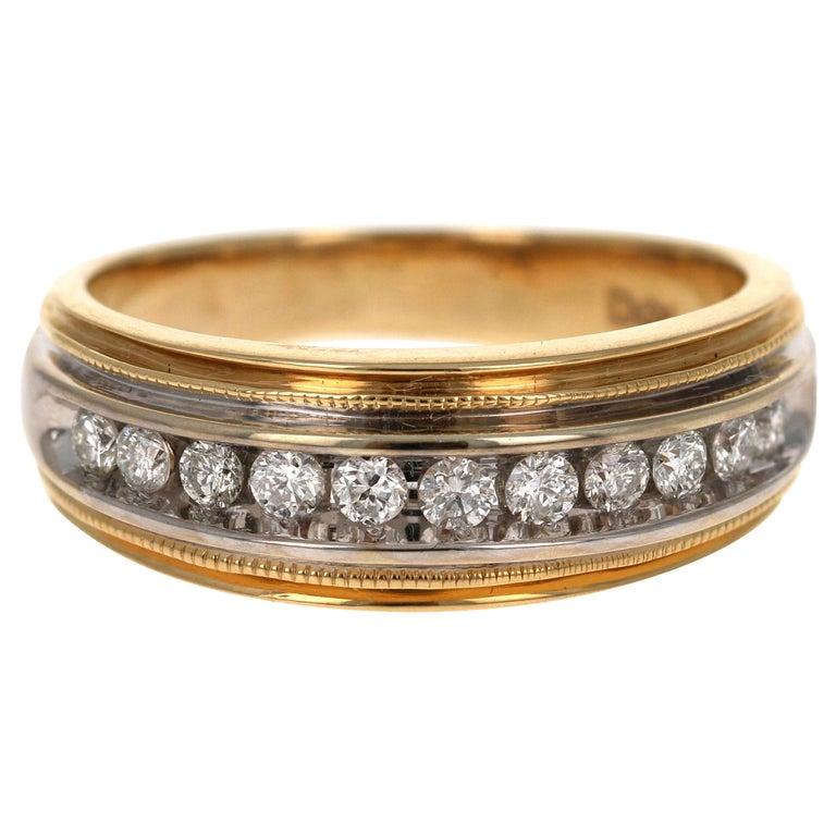 0.55 Carat Round Cut Men's Wedding Band 14 Karat Yellow Gold For Sale