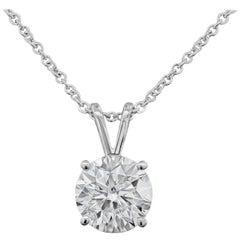 0.55 Carat Round Diamond Solitaire Pendant Necklace