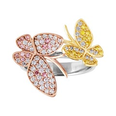 0.55 Carats Tri-Color Diamonds & Tri-Color Gold Bypass Butterfly Ring