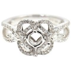 0.56 Carat Diamond 14 Karat White Gold Semi-Mount Engagement Ring