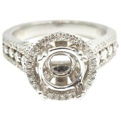 0.56 Carat Diamond 18 Karat White Gold Semi-Mount Engagement Ring