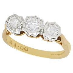 0.56 Carat Diamond and 18 Karat Yellow Gold Trilogy Ring, Vintage, circa 1980
