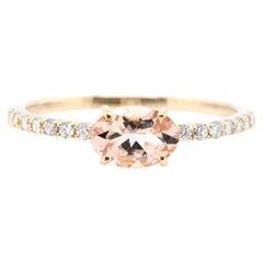 0.56 Carat Natural Morganite and Diamond Ring Set in 18 Karat Gold