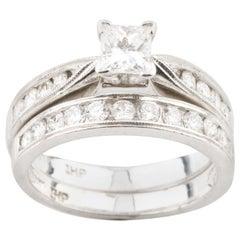 0.56 Carat Princess Cut Solitaire Wedding Set with Accent Stones in Platinum