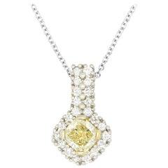 0.56 Carat Princess Yellow Diamond Pendant