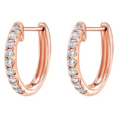 0.56 Carat Rose Gold Diamond Hoop Earrings