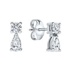 0.56 Carat Round & Pear Cut Diamond Fantasy Earrings in 14K White Gold