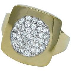 "0.56 Carat ""Square Peg Round Hole"" Pavé Diamond Ring in Yellow Gold"