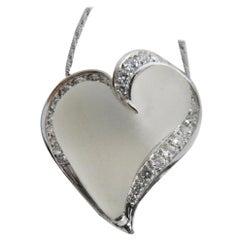 0.56 Karat White Diamond Hand Inlaid Rock Crystal Platinum Heart Pendant