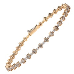 0.56 White GVS Diamonds 3.01 Brown Diamonds 18 Karat Pink Gold Tennis Bracelet