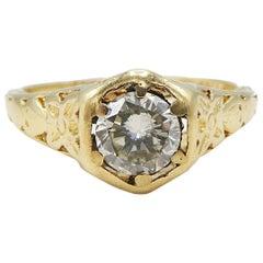 14 Karat Yellow Gold 0.57 Carat Diamond Solitaire Engagement Ring