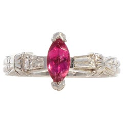 0.57 Carat Marquise Cut Pink Sapphire and Diamond in Platinum