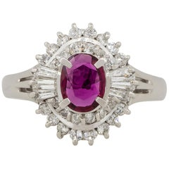 0.57 Carat Oval Ruby Center Diamond Cocktail Ring Platinum in Stock
