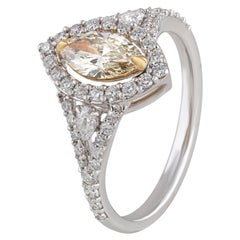 Studio Rêves  0.57 Carat Yellow Marquise Engagement Ring in 18 Karat Gold