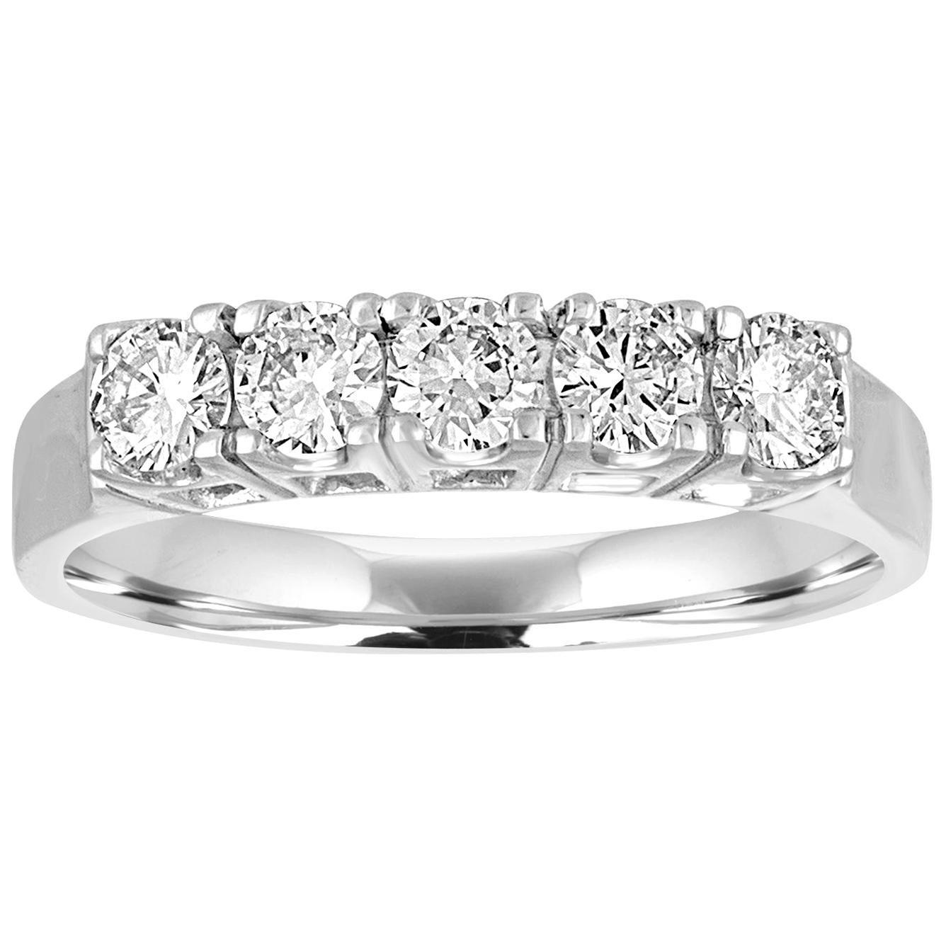 0.57 Carat Diamond Five-Stone Gold Half Band Ring