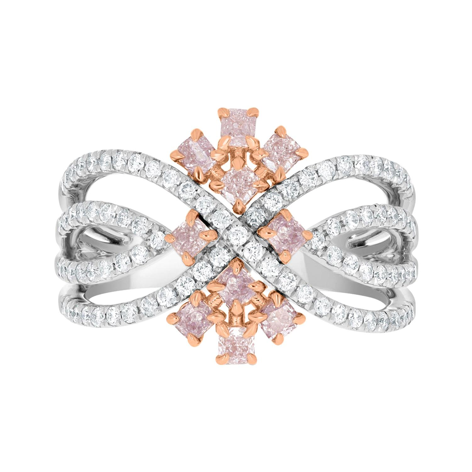 0.57ct Pink Diamond Ring with 0.47tct Diamonds Set in 14K Two Tone Gold