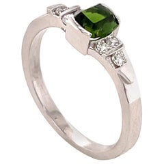 0.58 Carat Chrome Tourmaline and Diamond Gold Ring