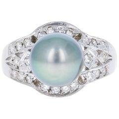 0.58 Carat Diamond and Tahitian Pearl 14 Karat White Gold Ring